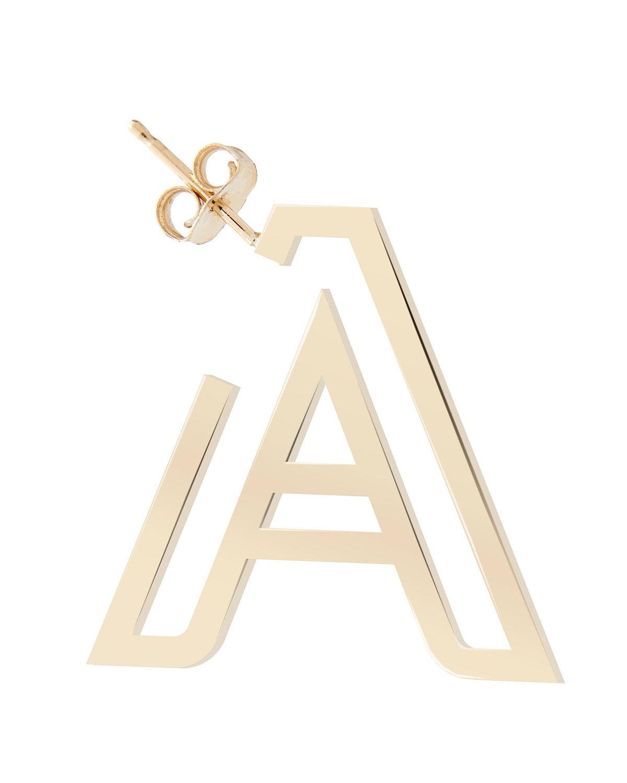 10k Chain Letter Hoop Earring