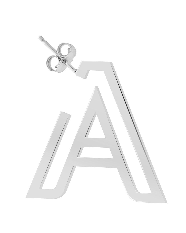 14k White Gold Chain Letter Hoop Earring