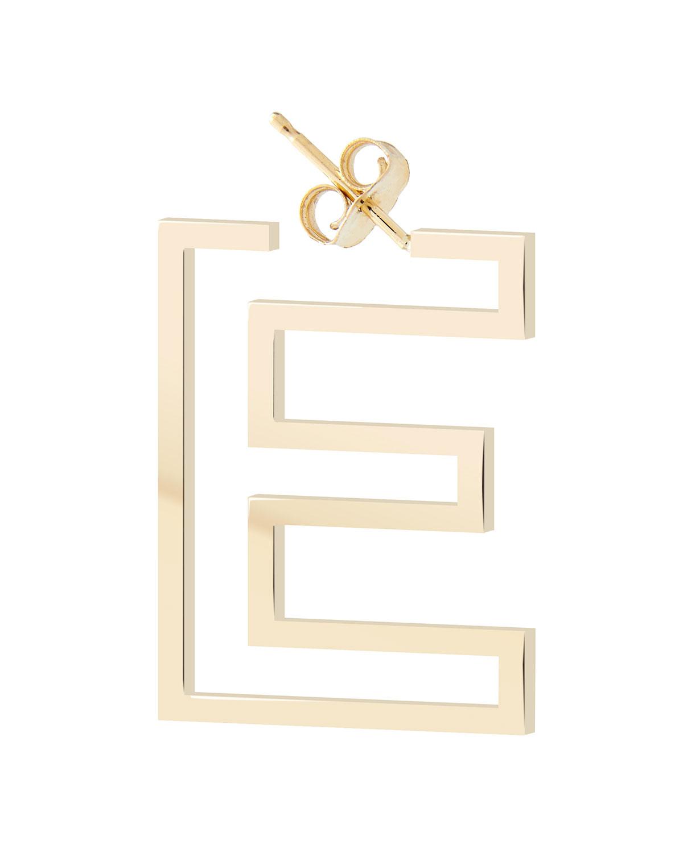 14k Chain Letter Hoop Earring