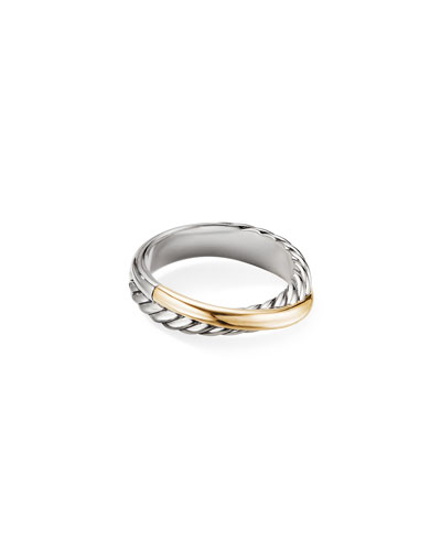 Crossover Ring w/ 18k Gold, Size 5-8