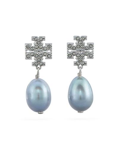 Kira Pave Pearl-Drop Earrings, Silver