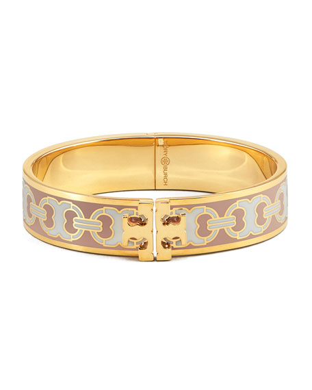 Tory Burch Kira Printed Enamel 14mm Bracelet, Pink/Gold
