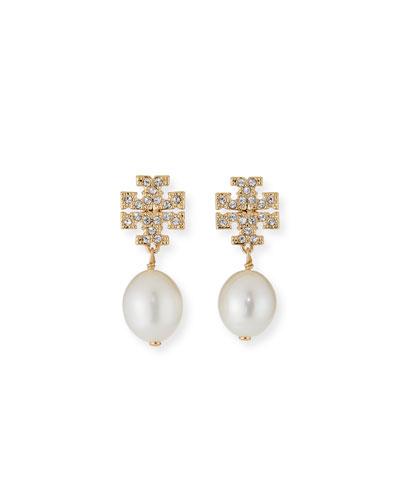 Kira Pave Pearl-Drop Earrings, Gold