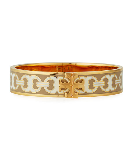 Tory Burch Kira Printed Enamel 14mm Bracelet, Gold
