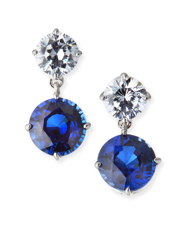 Double-Drop Cubic Zirconia & Synthetic Sapphire Earrings