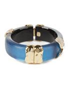 Alexis Bittar Pave Twist Sectioned Hinge Bracelet, Blue