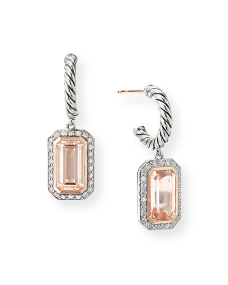 David Yurman Novella Cable Drop Earrings with Morganite and Diamonds