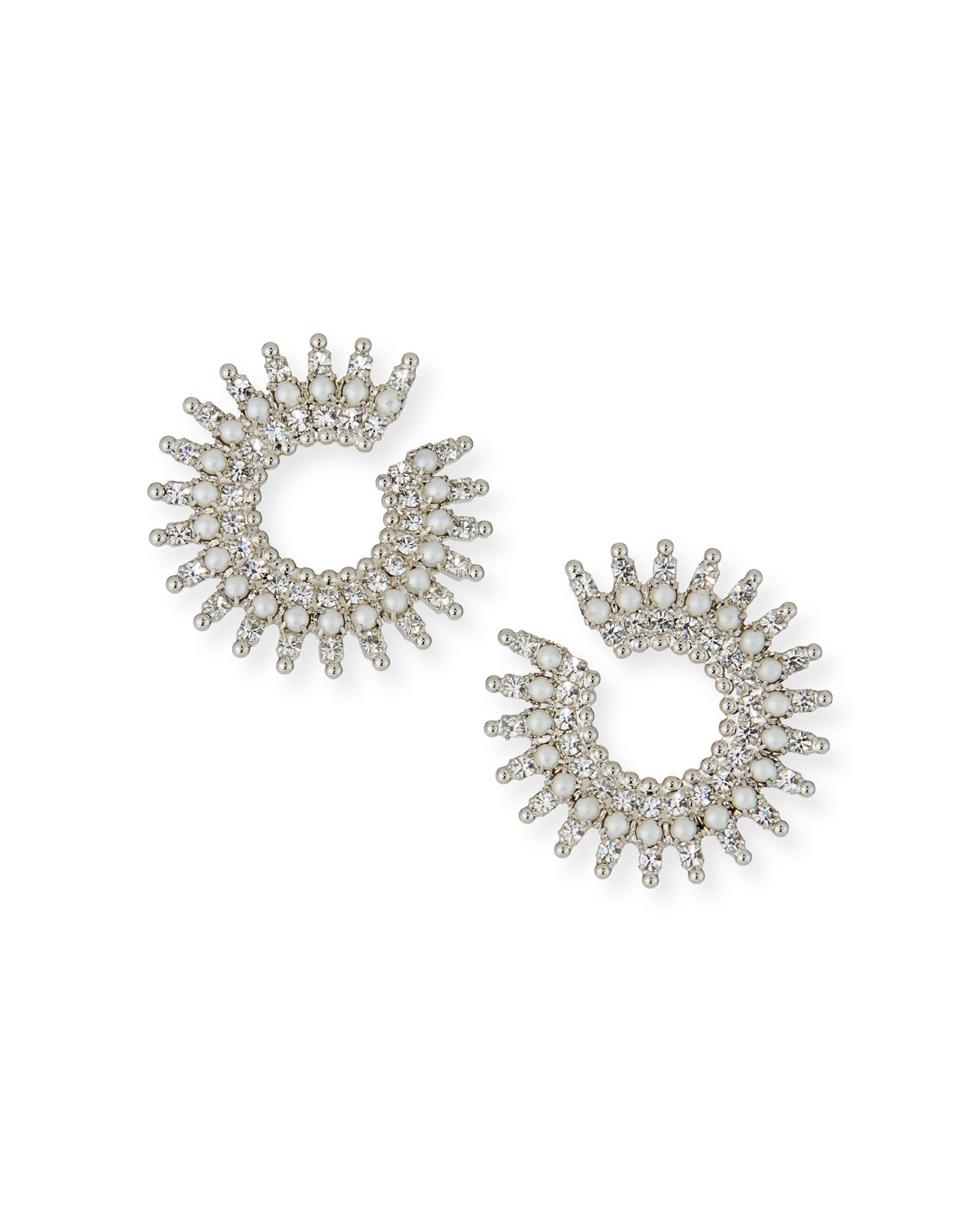 Holloway Pearly Crystal-Spike Earrings