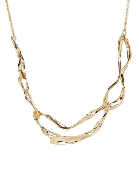 Alexis Bittar Crumpled Metal Link Necklace, Gold