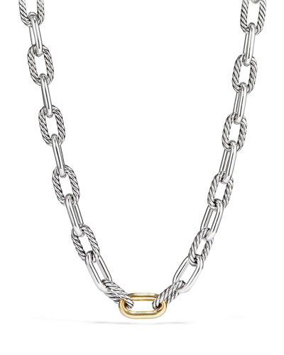 Madison Chain 13.5mm Large Link Necklace with 18k Link, 18