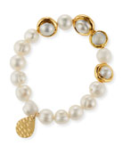 Devon Leigh Freshwater Pearl and Gold Accent Stretch