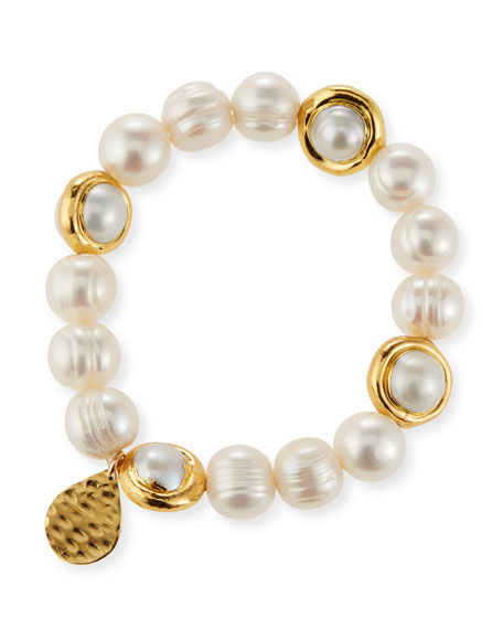 Devon Leigh Freshwater Pearl and Gold Accent Stretch Bracelet