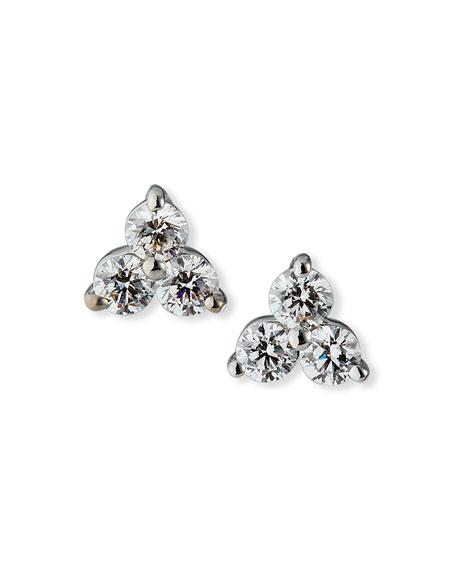 Roberto Coin 18k White Gold 3-Diamond Cluster Stud Earrings