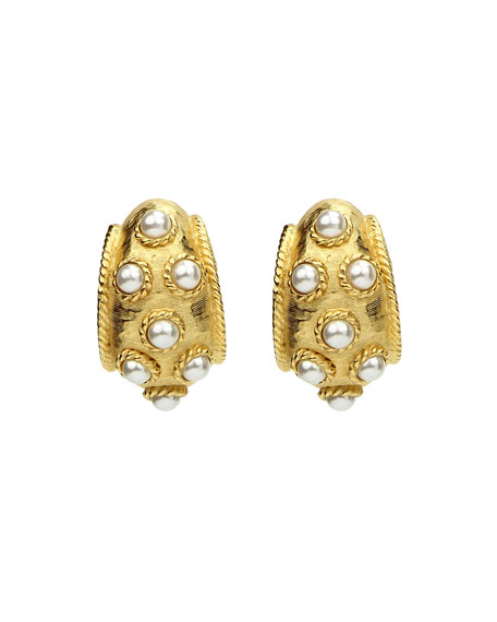 Ben-Amun Thick Pearly Clip-On Earrings