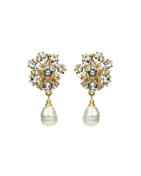 Ben-Amun Crystal Mini Clip-On Drop Earrings