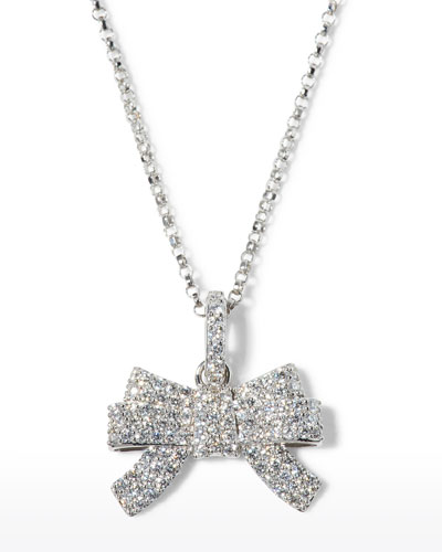x Disney Cinderella Diamond Bow Necklace in 18k White Gold