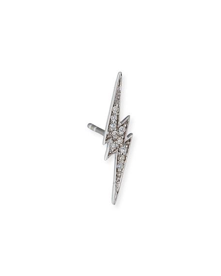 Sydney Evan 14k White Gold Diamond Lightning Bolt Stud Earring, Single