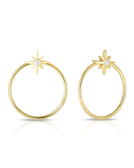 Roberto Coin x Disney Cinderella Diamond Star Hoop Earrings