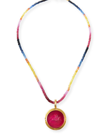 Dina Mackney Multi-Sapphire Round Pendant Necklace