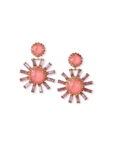 Elizabeth Cole Round Flower-Drop Earrings, Pink