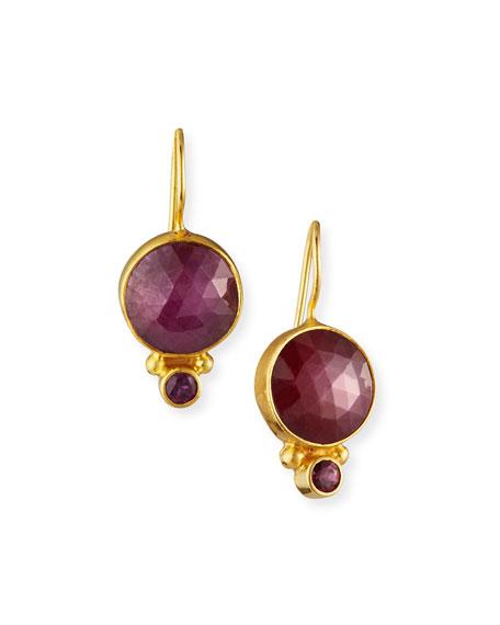 Dina Mackney Ruby Garnet Circle Drop Earrings