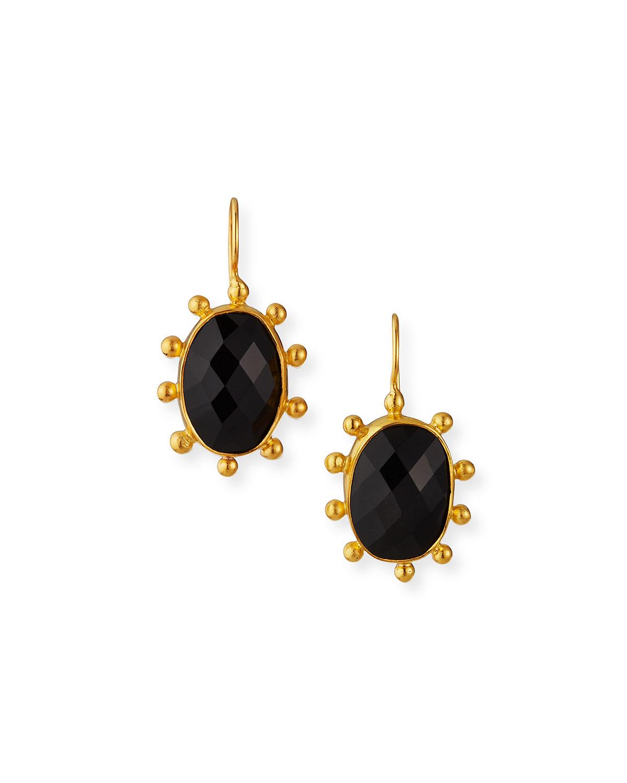 Large Black Onyx Pinwheel Earrings
