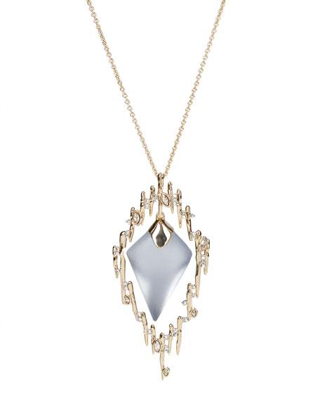 Alexis Bittar Navette Crystal Spiked Framed Long Pendant Necklace, Slate