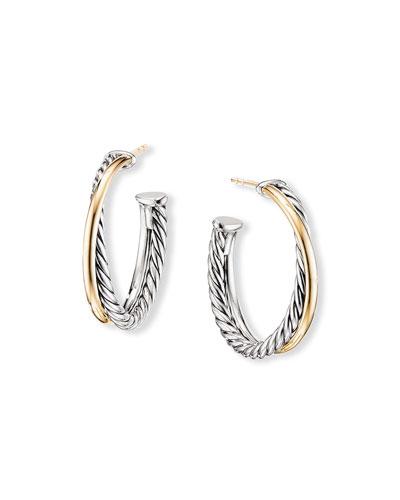 Crossover Medium Hoop Earrings w/ 18k Gold