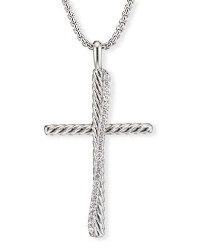 Crossover XL Cross Necklace w/ Diamonds