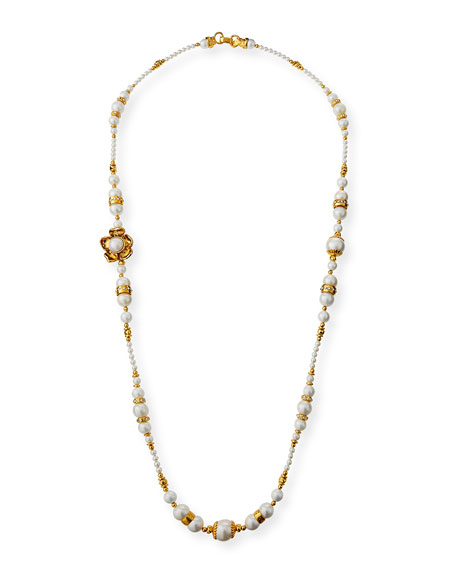 "Jose & Maria Barrera Long Beaded Flower Necklace, 42""L"