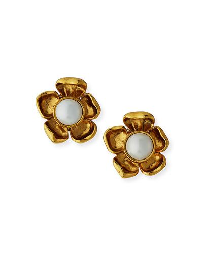 Pearly Flower Clip Earrings