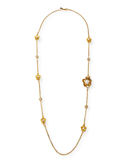 "Jose & Maria Barrera Long Flower-Station Necklace, 40""L"