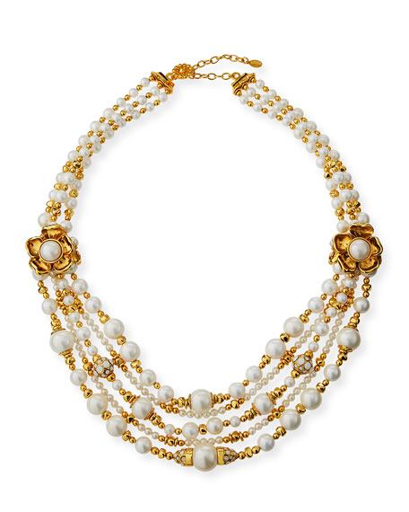 Jose & Maria Barrera Pearly 2-Flower Multi-Strand Necklace