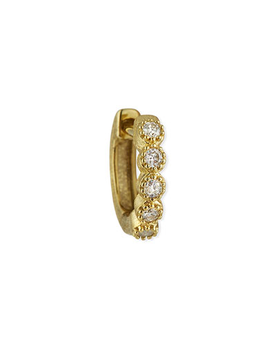 18K Petite Diamond Bezel Hoop Earring, Single