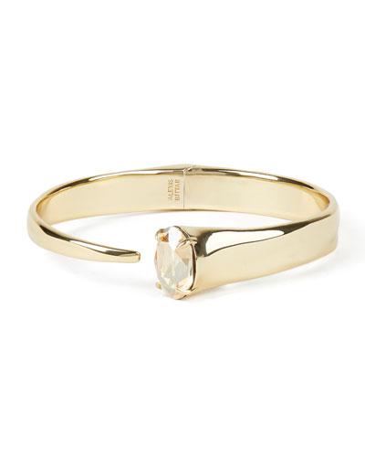 Crystal Capped Hinge Bracelet, Gold