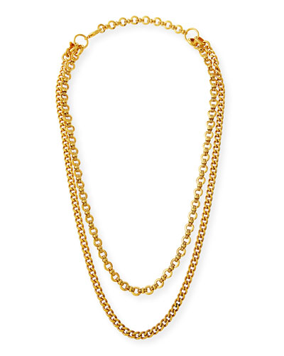 Hammered Long 2-Chain Necklace