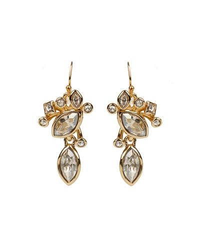 Navette Crystal Cluster Wire Earrings