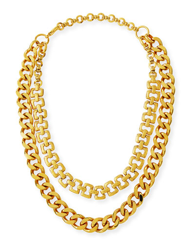 Hammered 2-Chain Necklace
