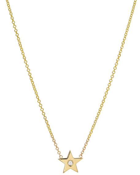 Zoe Lev Jewelry 14k Gold 1-Diamond Star Necklace