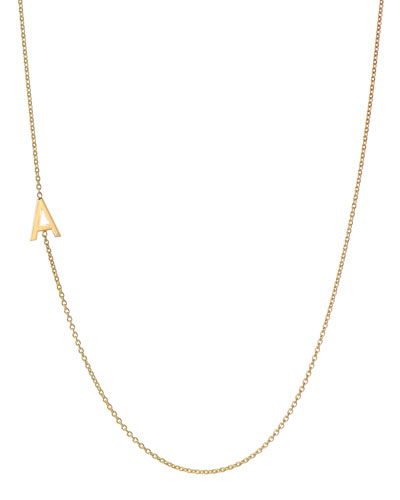 Personalized Asymmetric Initial Necklace in 14K Yellow Gold
