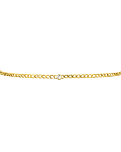 14k Cuban-Link Diamond Bezel Necklace