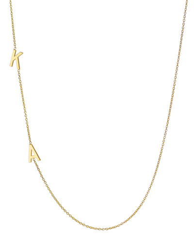 14k Personalized 2-Initial Asymmetric Necklace