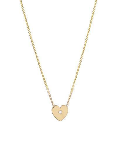 14k Gold 1-Diamond Heart Necklace