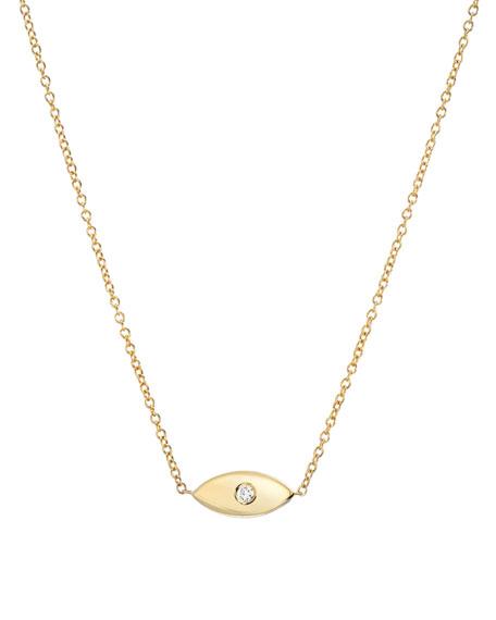 Zoe Lev Jewelry 14k Gold 1-Diamond Evil Eye Necklace