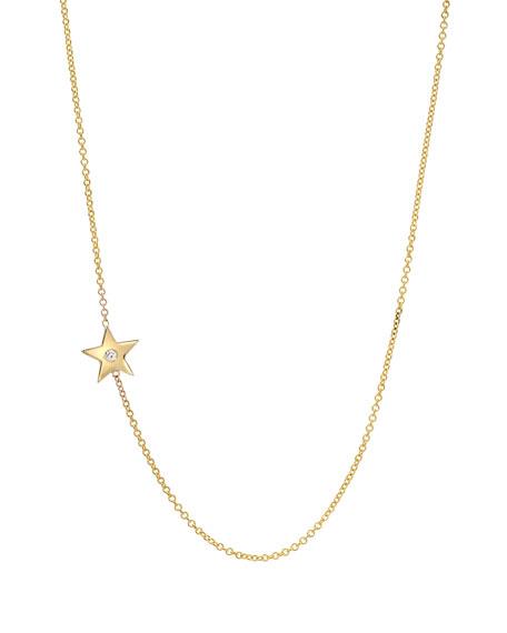 Zoe Lev Jewelry 14k Gold Asymmetric 1-Diamond Star Necklace
