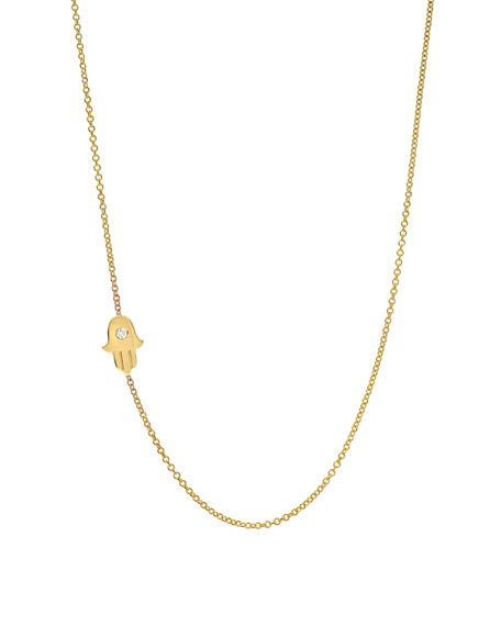 Zoe Lev Jewelry 14k Gold Asymmetric 1-Diamond Hamsa Necklace