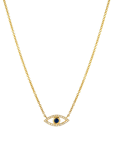 Zoe Lev Jewelry 14k Diamond Evil Eye Necklace