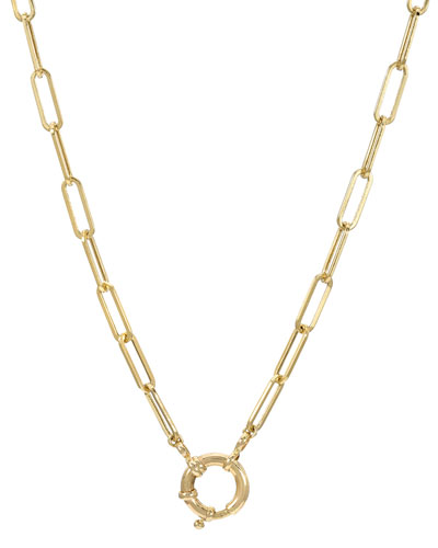 14k Gold Paper Clip Large Clasp Chain Necklace