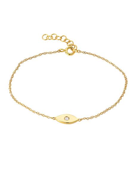 Zoe Lev Jewelry 14k Gold 1-Diamond Evil Eye Bracelet
