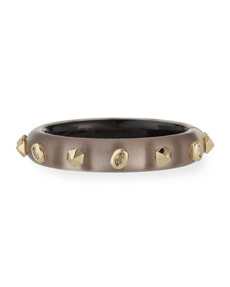 Alexis Bittar Stone Studded Small Hinge Bracelet, Rose